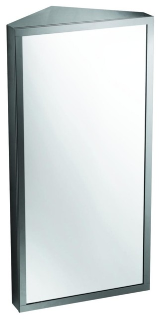 Wall Mount Corner Medicine Cabinet Brushed Stainless Steel.
