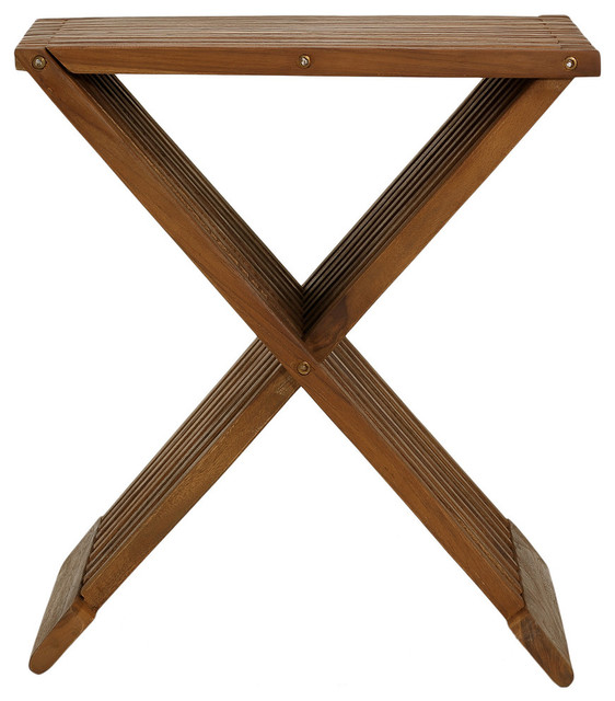 Rocco Folding Stool Solid Teak Wood craftsman-outdoor-bar-stools-and  sc 1 st  Houzz & Rocco Folding Stool Solid Teak Wood - Craftsman - Outdoor Bar ... islam-shia.org