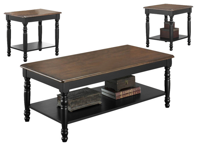 Homelegance Ohana 3 Piece Coffee Table Set In Black And Cherry Traditional Coffee Table Sets