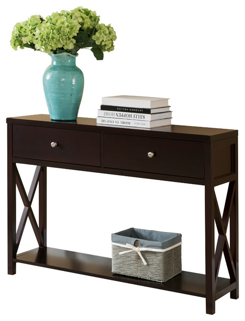 Wood Entryway Console Sofa Occasional Table With Drawers, Cherry Finish
