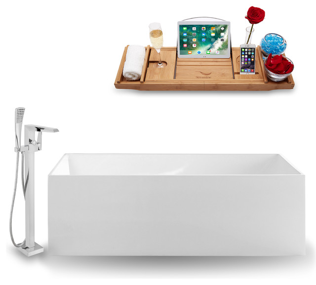 Tub, Faucet and Tray Set Streamline 66.5 Freestanding XH3242-100 by Streamline