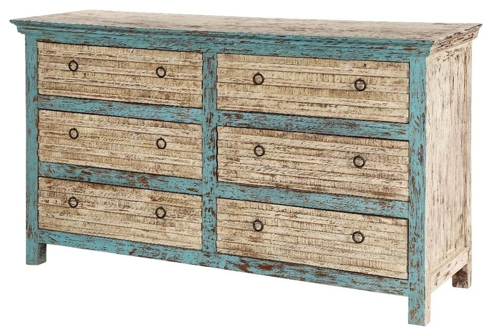 Antique Blue Mango Wood Distressed White Bedroom Dresser With 6 Drawer