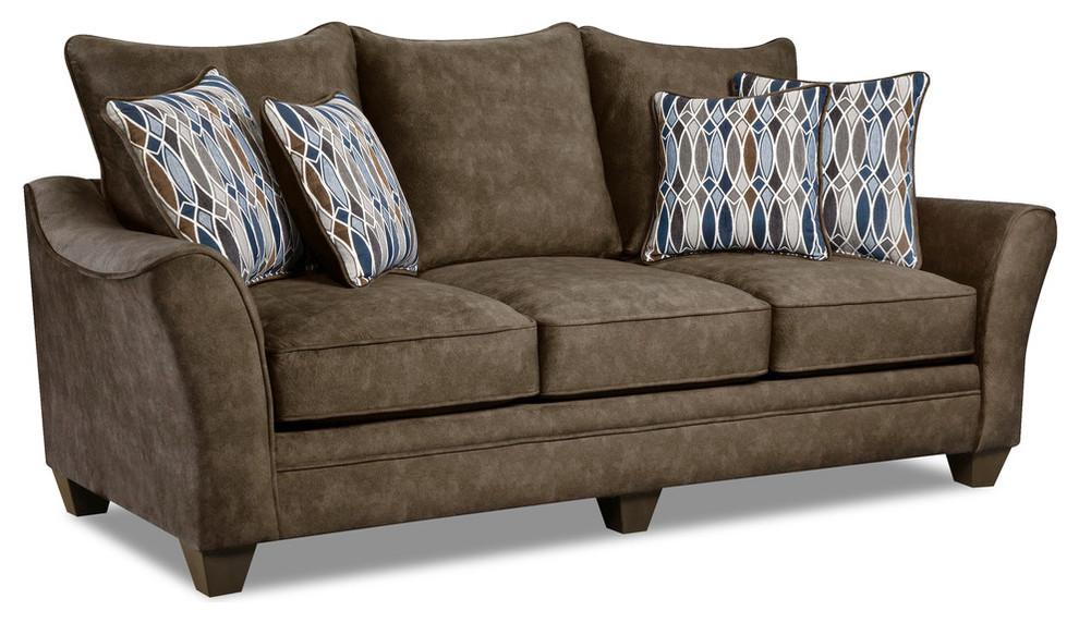 Kensington Faux Suede Sofa, Brown
