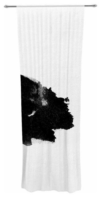 """dark Stars"" Black White Abstract Painting Decorative Sheer Curtain."
