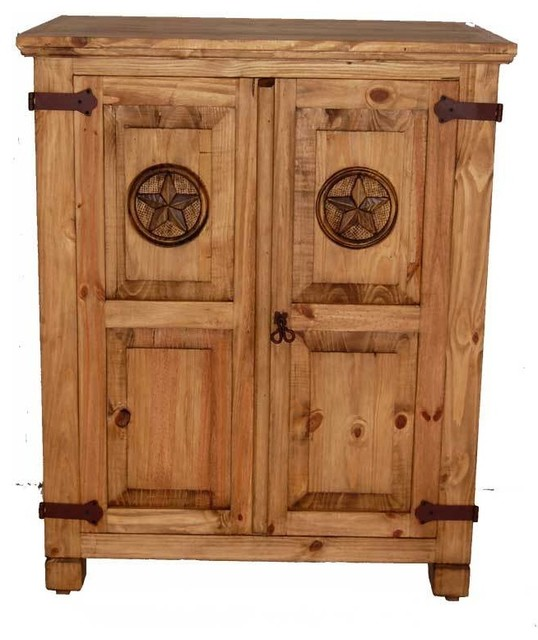Rustic Short Armoire With Star Detail Southwestern Armoires