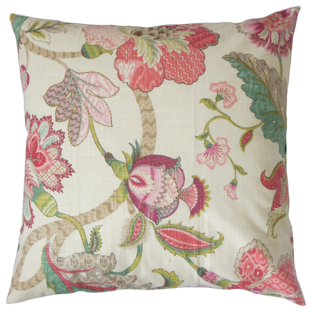 Juhani Floral Floor Pillow, Rose Green.
