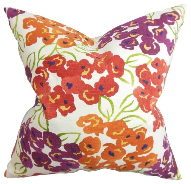 Heloise Floral Pillow Red - Contemporary - Decorative Pillows - by The Pillow Collection