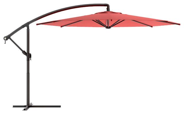 Corliving Offset Patio Umbrella, Wine Red.
