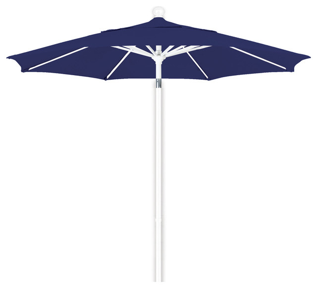 7.5 Foot Olefin Fabric Aluminum Pulley Lift Patio Market Umbrella, White Pole.