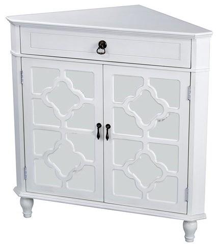 Frasera 1-Drawer, 2-Door Corner Cabinet With Quatrefoil Mirror Inserts