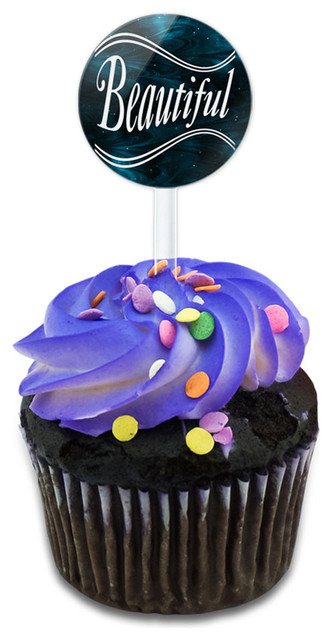 Beautiful On Blue Swirls Cupcake Toppers Picks Set.
