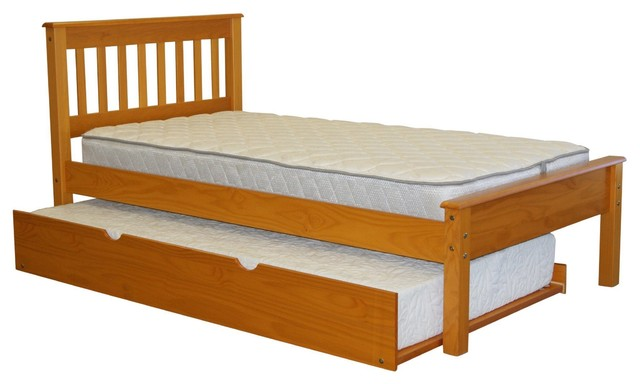 Bedz King Mission Style Twin Bed With Twin Trundle, Honey.