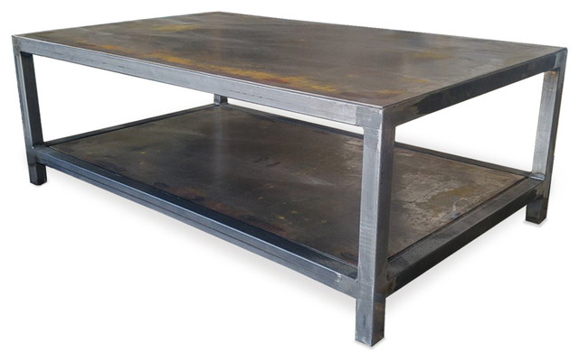 Beau Metal Welded Steel Two Tier Coffee Table, Industrial Modern Rectangle Table