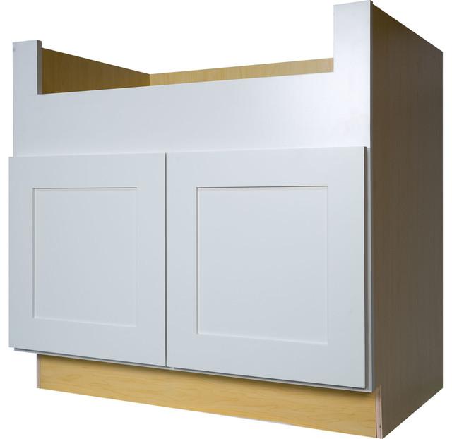 White Shaker Farm House Apron Sink Base Kitchen Cabinet ...