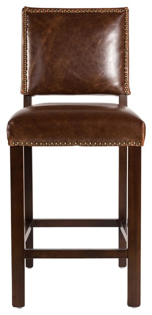 New Brown Leather Counter Stool  Retro Aged