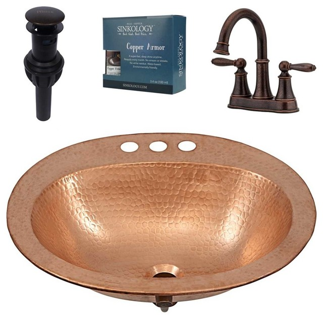 Kelvin Drop-In Copper Sink Design Kit With Courant Faucet and Drain, Bronze