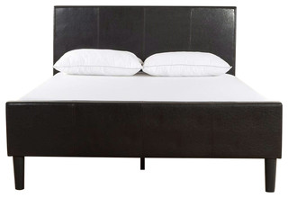 King Espresso Faux Leather Platform Bed With Upholstered Headboard, Footboard
