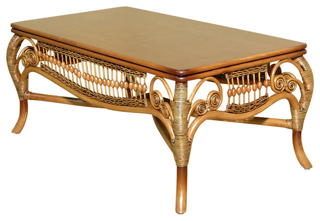 Rattan with Solid Wood Elizabeth Occasional Tables, Coffee Table victorian- coffee-tables - Rattan With Solid Wood Elizabeth Occasional Tables, Coffee Table