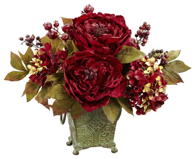 Peony And Hydrangea Silk Flower Arrangement Victorian Artificial