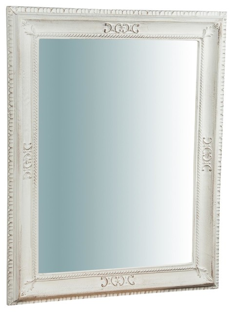 Traditional Wooden Wall Mirror, White, Square, 65x85 cm