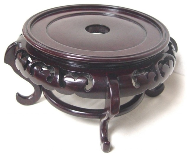 Mahogany Finish Chinese Porcelain Bowl Stand