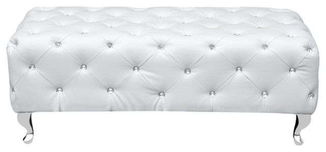 Modern Contemporary Urban Design Living Lounge Room Bench, White, Faux Leather.