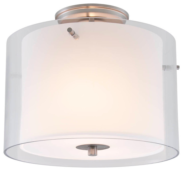 12 Semi Flush Mount, Buffed Nickel.