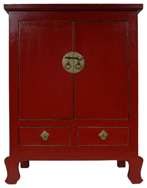 Consigned Chinese Antique 2 Doors Red Lacquered Cabinet/Chest 28B02 - Asian - Accent Chests And ...