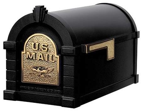 Gaines Mfg Keystone Curbside Black Mailbox, Polished Brass, Eagle