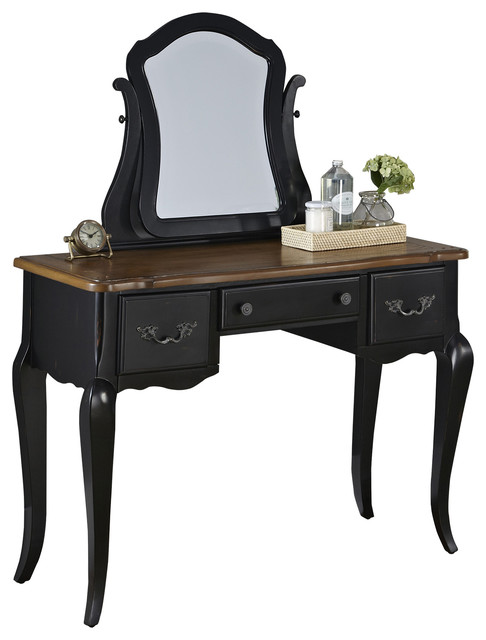 The French Countryside Vanity And Mirror Set Oak And Rubbed Black Bedroom