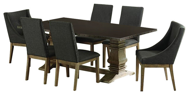 Homelegance Anna Claire 7-Piece Rectangular Dining Room Set In Driftwood.