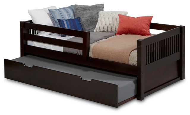 Dakota Daybed With Guardrail And Trundle, Cappuccino, Twin.