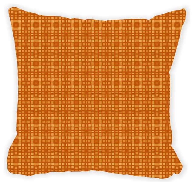 Grunge Amber Plaid Microfiber Throw Pillow No Fill