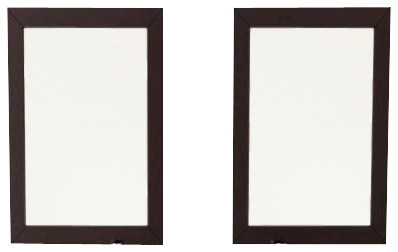 Set Of 2 Bathroom Mirrors With Solid Wood Trim In Espresso
