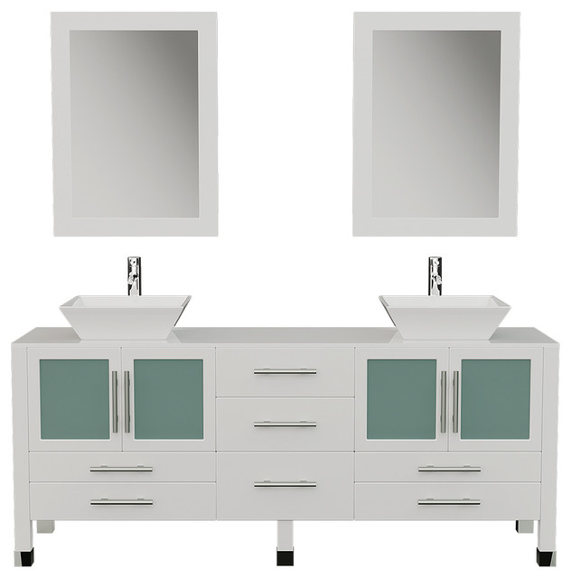 71 Solid Wood Vanity Porcelain Counter Top Vessel Sinks Cr Faucets Contemporary Bathroom Vanities And Sink Consoles By Bathroom Marketplace Houzz
