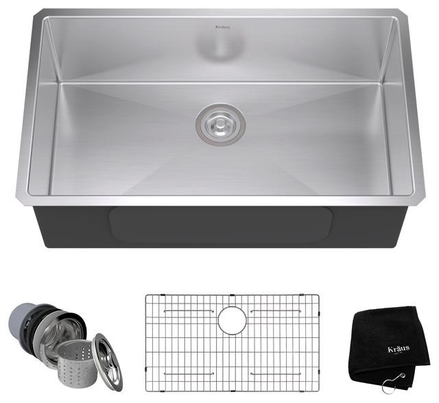 undermount single bowl 16 gauge stainless steel kitchen sink 32 modern - Stainless Steel Kitchen Sink Gauge