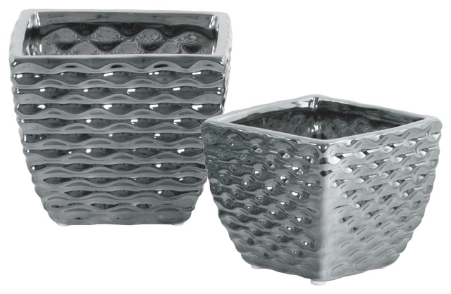 Square Vases Embossed Wave Design Body And Tapered Bottom 2 Piece