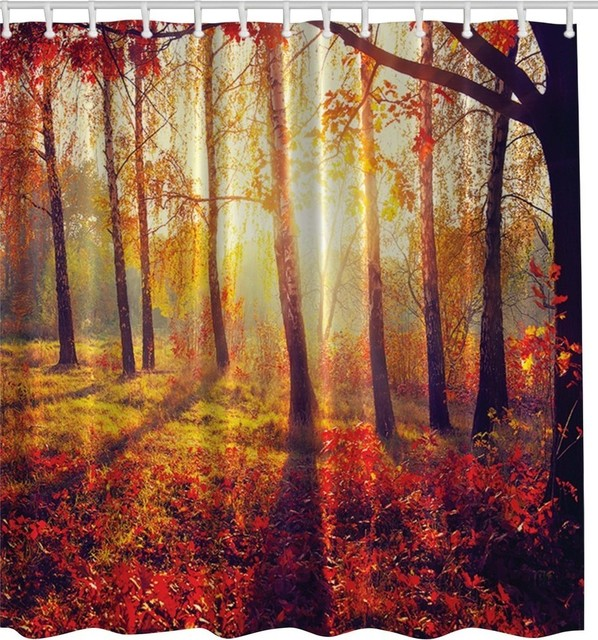Autumn Forest Fabric Shower Curtain