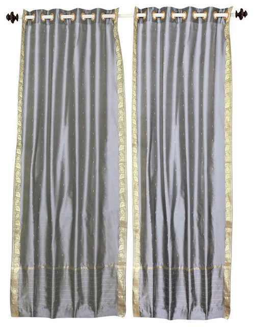 Gray Ring Top Sheer Sari Curtain, Drape And Panel, 43x84, Piece.