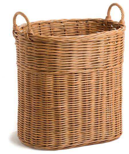 Tall Narrow Wicker Tote Basket