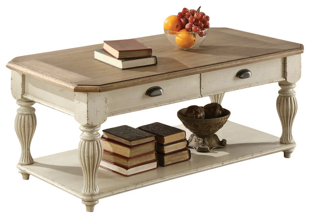 Riverside Furniture Coventry Two Tone Cocktail Table In Dover White Traditional Coffee Tables