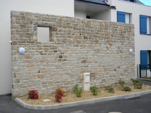 Mur en pierre décoratif extérieur - Contemporain - Rennes - par Sté ...