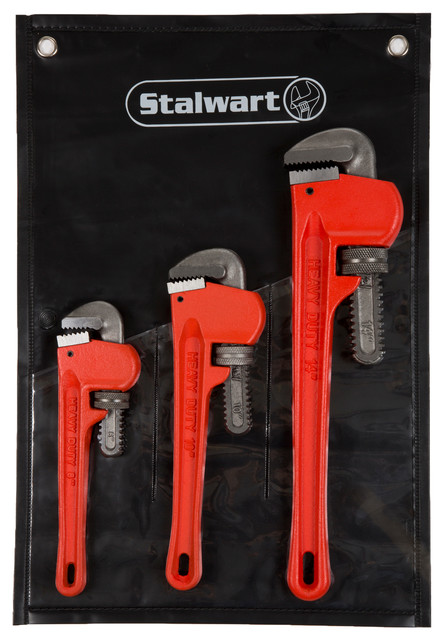 Stalwart 3-Peice Heavy Duty Pipe Wrench Set With Storage Pouch,.
