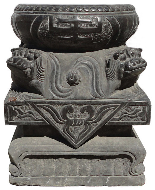 Chinese Carving Foo Dog Stone Base Garden Stool Table Stand, 2 Piece Set