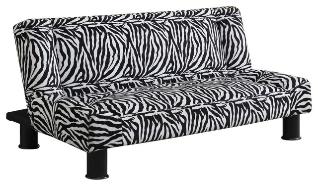 Leopia leopard print fabric sofa futon bed contemporary for Zebra sectional sofa