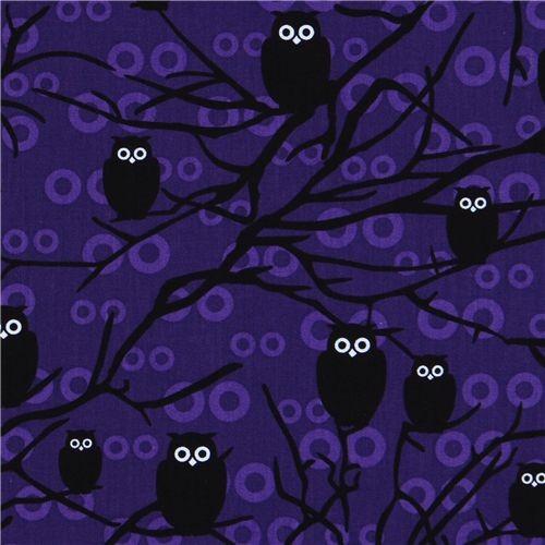 purple owls fabric Robert Kaufman USA designer