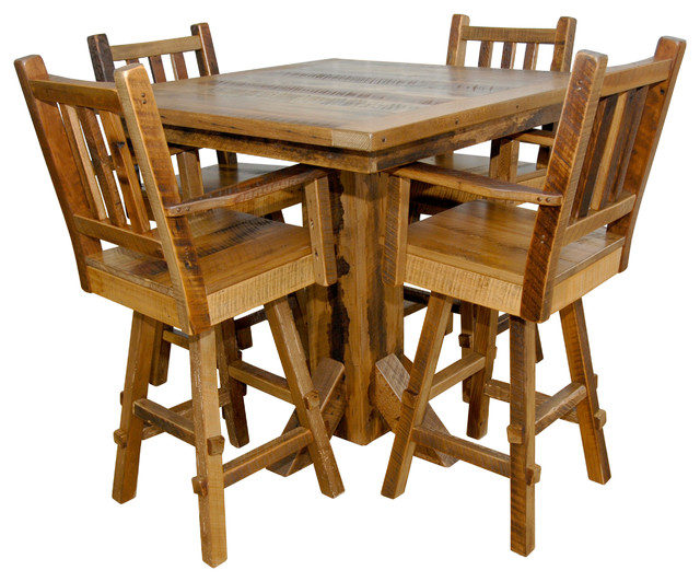 Reclaimed Barn Wood Bar Height Pub Table With 4 Stools Rustic Indoor And Bistro Sets By Furniture Usa
