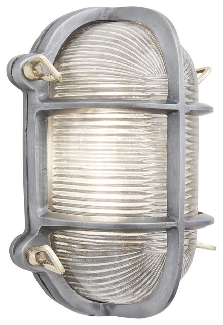 Bulkhead Outdoor & Bathroom Oval Light - 6 Inch - Gunmetal, Back Wiring