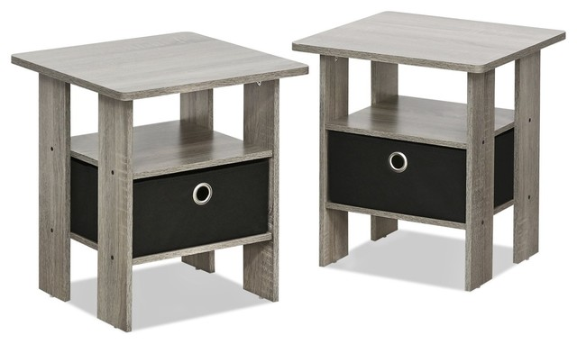 Stylish End Table Bedroom Night Stand, Petite, Set Of 2, French Oak Gray/black.