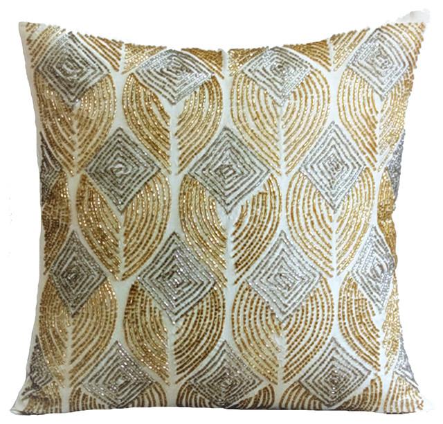 Gold Throw Pillow Covers 16 X16 Silk Golden Rain